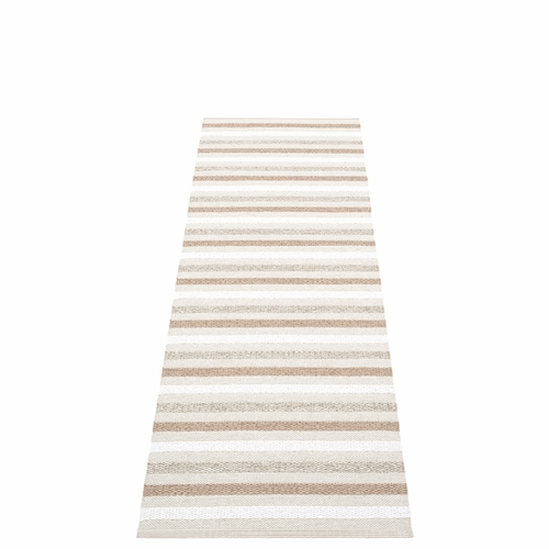 Pappelina Grace Plastic Rug - Fossil, 2 1/4' x 9'