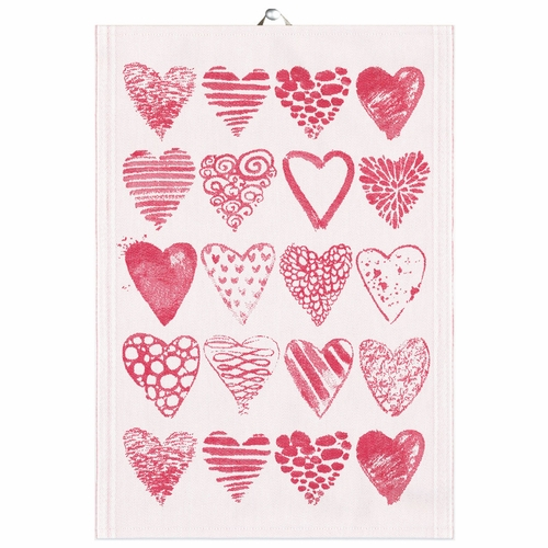 Hearts Tea Towel, 19 x 28 inches