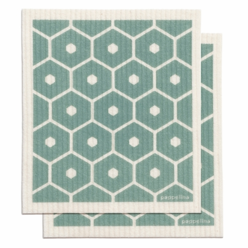 "Pappelina Honey Dishcloth, Set of 2 - Haze, 7"" x 8"""