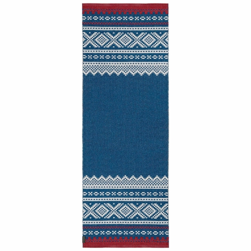 Horredsmattan Washable Swedish Plastic Rug - Marit Blue/Red - , 2 1/3 X 2 1/3 Feet