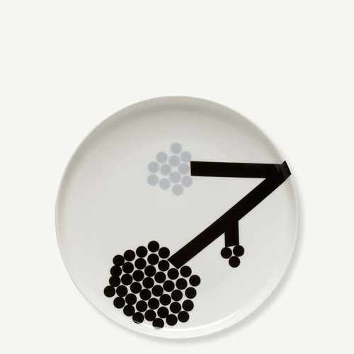 Hortensie Dinner Plate, White/Dark Grey/Black, 10""