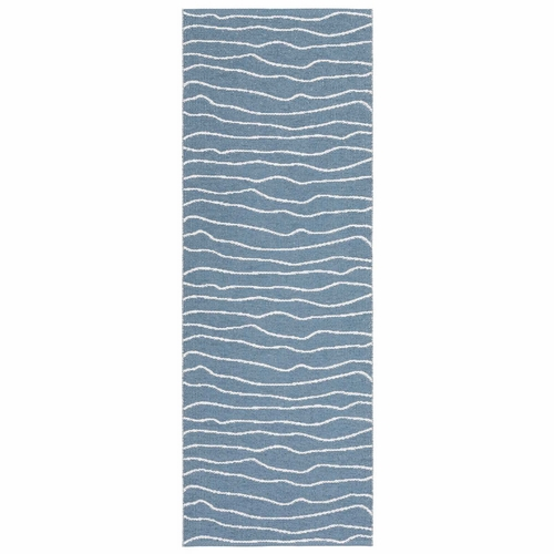 Horredsmattan Washable Swedish Plastic Rug - Line Blue - 13 Sizes