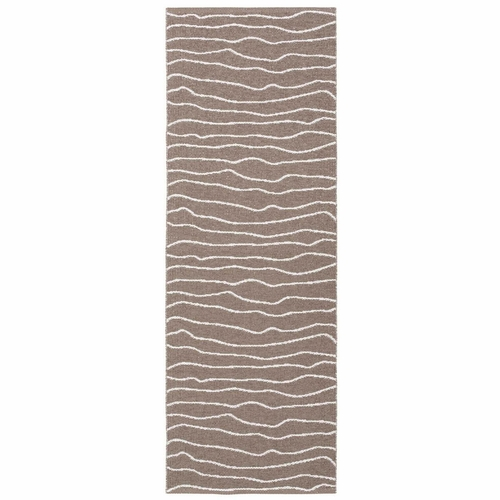 Horredsmattan Washable Swedish Plastic Rug - Line Brown - 13 Sizes