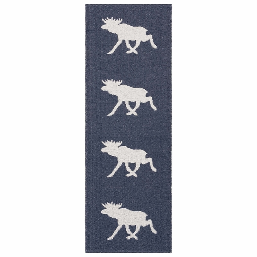 Horredsmattan Washable Swedish Plastic Rug - Moose Marine - 9 Sizes