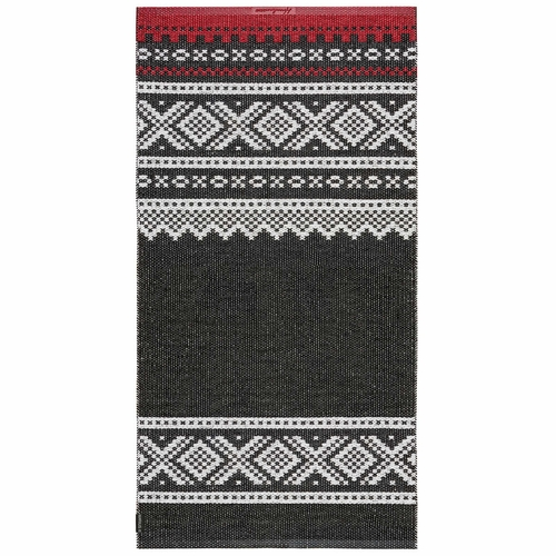 HRD Swedish Plastic Rug Olav, Black/Red - 5 Sizes