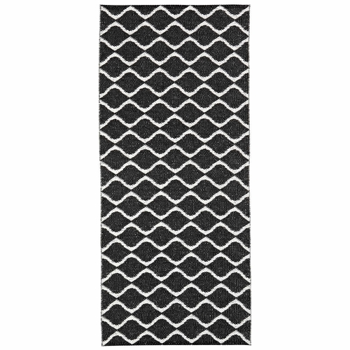 Horredsmattan Washable Swedish Plastic Rug - Wave Black - 16 Sizes