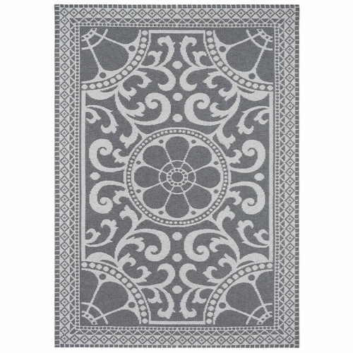 Horredsmattan Washable Swedish Plastic Rug - Barock Grey - 5 Sizes