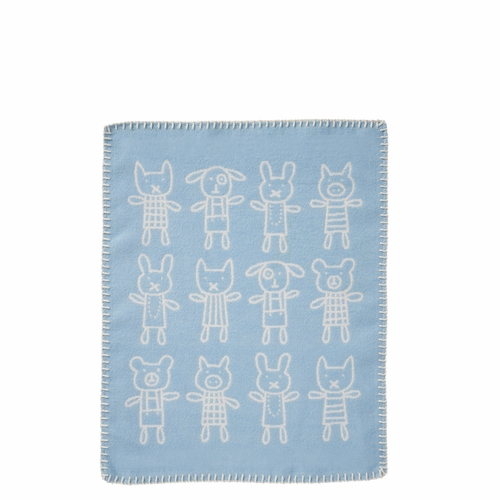 Klippan Hug Brushed Organic Cotton Cuddly Blanket, Blue