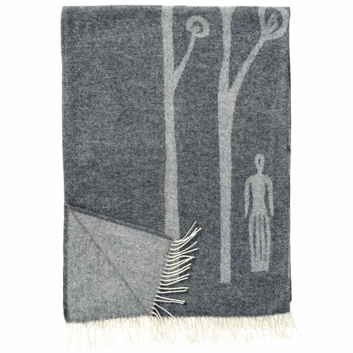 In The Woods Brushed Merino & Lambs Wool Throw, Grey