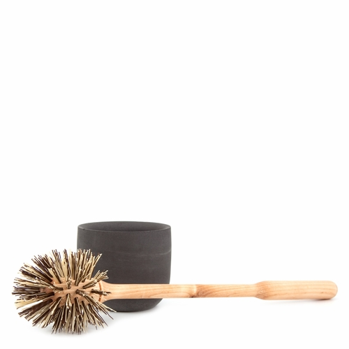 Iris Hantverk Loo Brush with Concrete Holder, Dark Gray