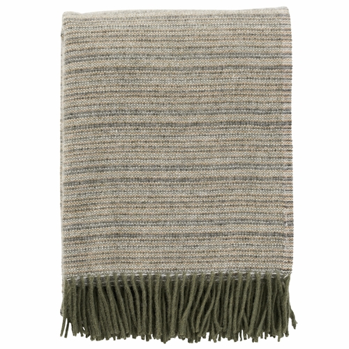 Klippan Alaska Brushed ECO Lambs Wool Throw, Dusty Green