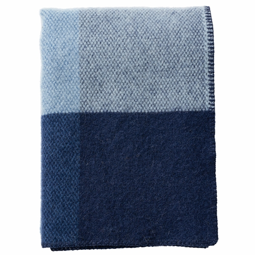 Klippan Block Brushed Lambs Wool Throw, Blue
