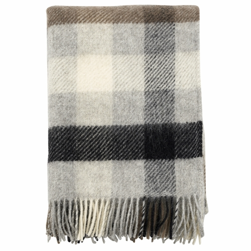 Klippan Brushed Gotland Wool Throw, Multi Grey