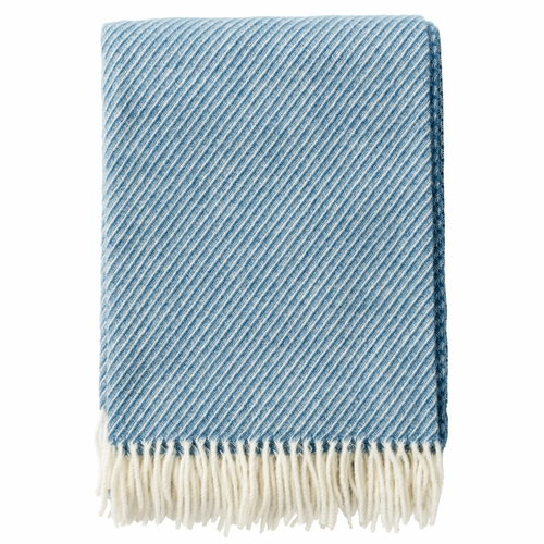Klippan Classic Brushed Merino & Lambs Wool Throw, Blue