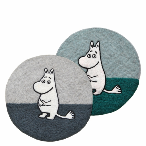 Klippan Felted Wool Pot Mat, Moomin Grey & Blue Set of 2