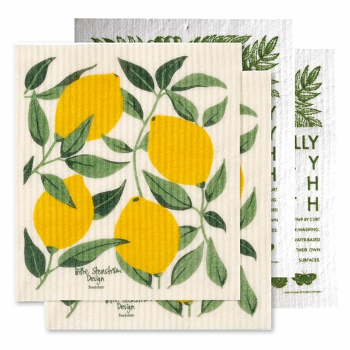 Klippan Lemon Tree & Environmentally-Friendly Swedish Dishcloth 4-Piece Set
