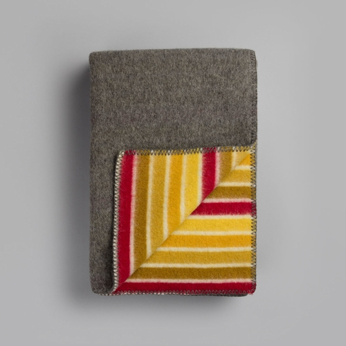 "Roros Tweed Konfetti Wool Blanket, Grey/Yellow - 53"" x 79"""