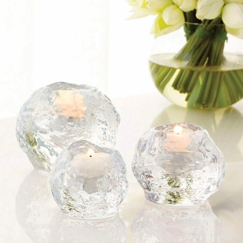 Kosta Boda Snowball Votive, Set of 3 - Gift Boxed, Includes Clear Cup Tealight Candles - 40-Pack