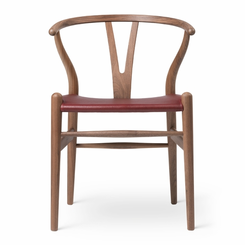Limited Edition CH24 Wishbone Chair, Walnut Oil, Red Goat Leather Seat