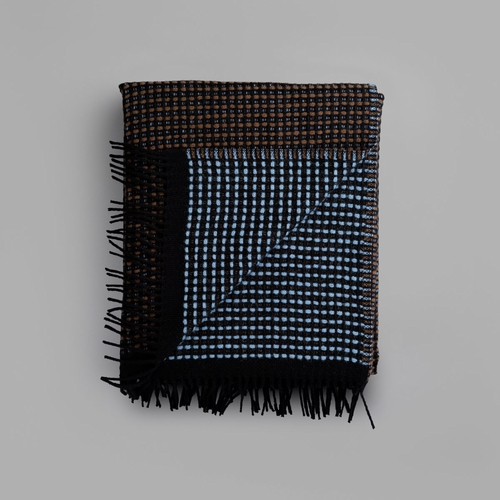"Roros Tweed Lofoten Wool Blanket with Fringes, Blue/Mule - 59"" x 83"""