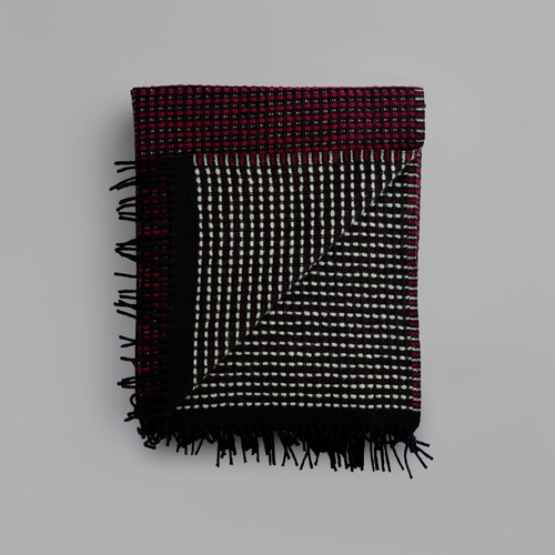 "Roros Tweed Lofoten Wool Blanket with Fringes, Burgundy/Mint - 59"" x 83"""
