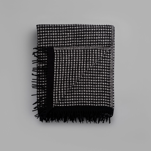 "Lofoten Wool Blanket with Fringes, Grey - 59"" x 83"""