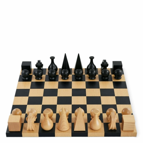 Authentic Man Ray Wood Chess Board & Pieces