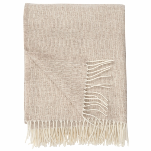 Manhattan Brushed Merino Wool Throw, Beige
