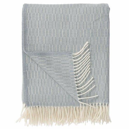Manhattan Brushed Merino Wool Throw, Light Blue