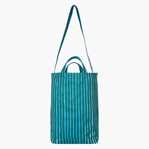Marimekko Odelia Ristipiccolo Heavyweight Canvas Shoulder/Tote Bag, Blue / Green / Light Turquoise