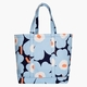Marimekko Peruskassi Pieni Unikko Large Heavyweight Canvas Beach or Picnic Tote Bag - Blue / White / Peach