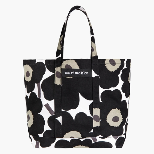 Marimekko Peruskassi Pieni Unikko Large Heavyweight Canvas Beach or Picnic Tote Bag - White / Black