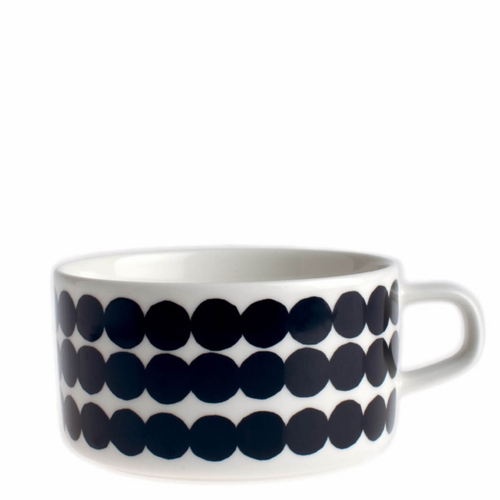Marimekko Rasymatto Tea Cup, White/Black, 8.8 oz - Starter Set of 6