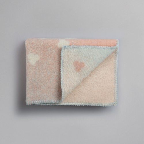 "Melvin Wool Baby Blanket, Light Pink/Light Blue - 26"" x 39"""