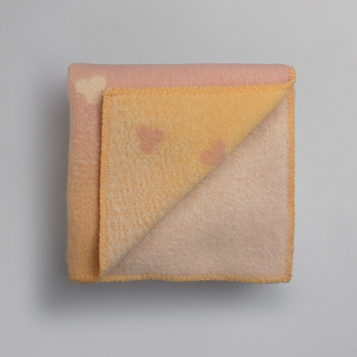 "Melvin Wool Mini Blanket, Light Pink/Yellow - 53"" x 39"""