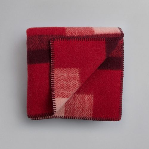 "Roros Tweed Mikkel Wool Mini Blanket, Red - 53"" x 39"""