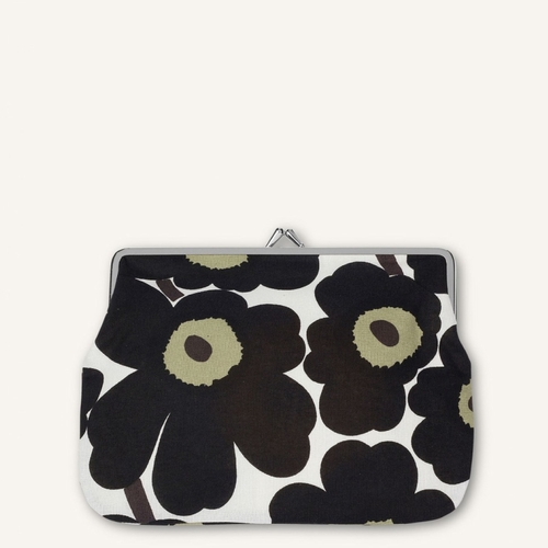 Marimekko Mini Unikko Coin Purse, White/Black/Olive