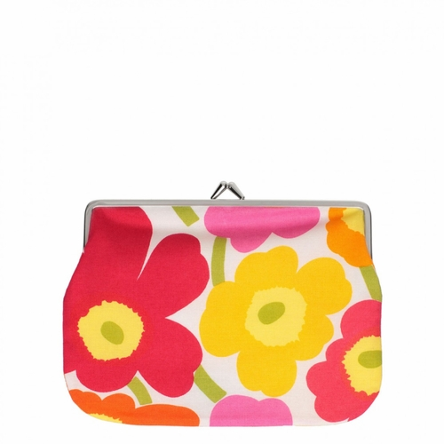 Marimekko Mini Unikko Coin Purse, White/Orange/Red