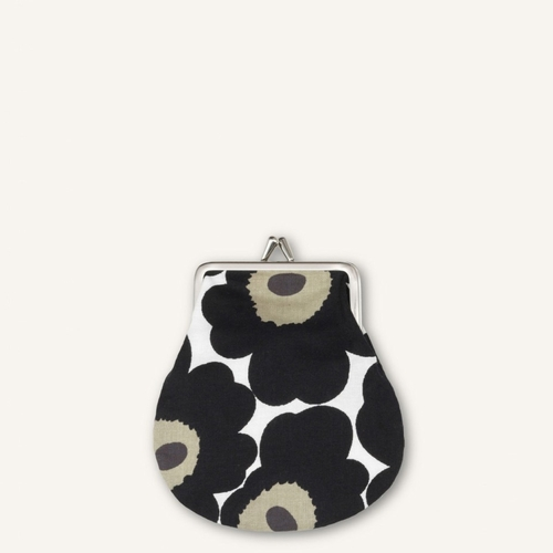 Marimekko Mini Unikko Mini Coin Purse, White/Black/Olive