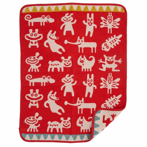 Monsters Organic Cotton Chenille Baby Blanket, Red