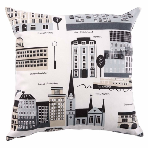 My Stockholm Printed Cushion Cover, Beige