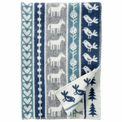 Klippan Nature ECO Lambs Wool Children's Blanket, Grey/Blue