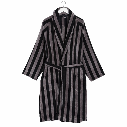 Marimekko Nimikko Mikko Bathrobe, Grey/Black - Large/Extra Large