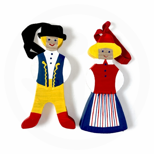 Norwegian Folk Couple Ornament, Set of 2
