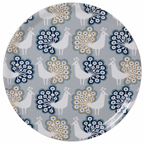 Peacock Large Round Tray, Grey