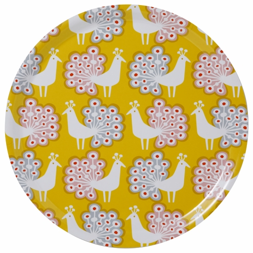 Peacock Large Round Tray, Yellow