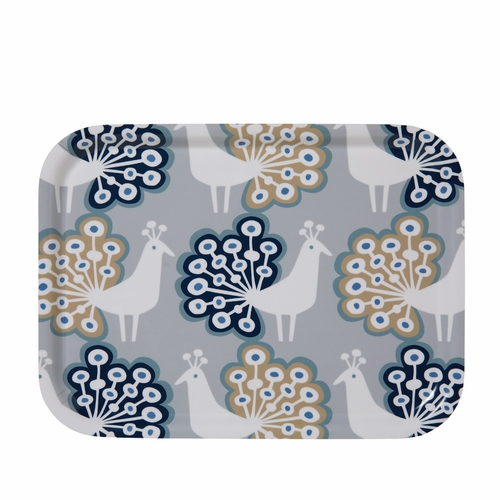 Peacock Small Tray, Grey