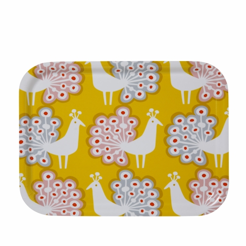 Peacock Small Tray, Yellow