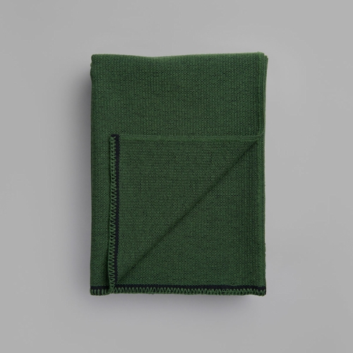"Roros Tweed Picnic Wool Blanket, Deep Moss Green - 53"" x 79"""
