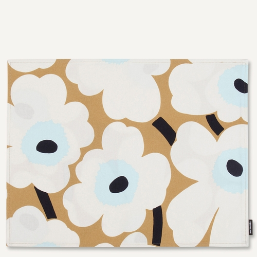 Pieni Unikko Acrylic Coated Cotton Placemat, Beige/Off-White/Blue
